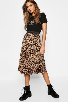boohoo Leopard Print Pleated Midi Skirt