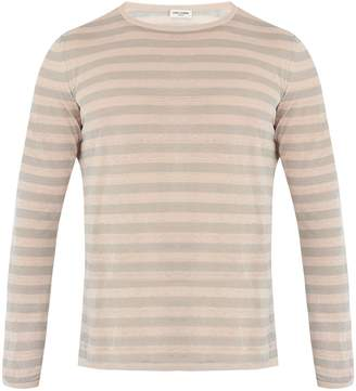Saint Laurent Crew-neck striped linen and silk-blend sweater