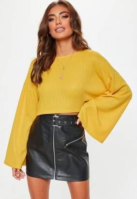 Missguided Mustard Ribbed Flare Sleeve Sweatshirt