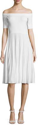 Jason Wu Off-the-Shoulder Ribbed Half-Sleeve Dress, Cobalt