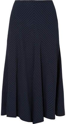 Chloé Asymmetric Pinstriped Woven Midi Skirt - Navy
