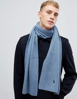 Polo Ralph Lauren player logo merino wool rib scarf in blue marl