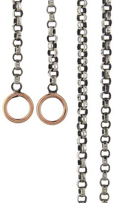 Marla Aaron Silver Rolo Chain Necklace - Rose Gold Loops