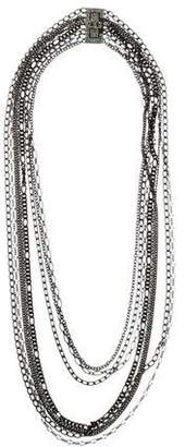Chanel Multistrand Chain & Crystal Necklace