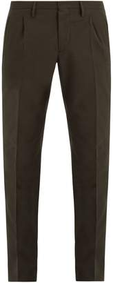 Incotex Mid-rise slim-leg cotton and wool-blend trousers
