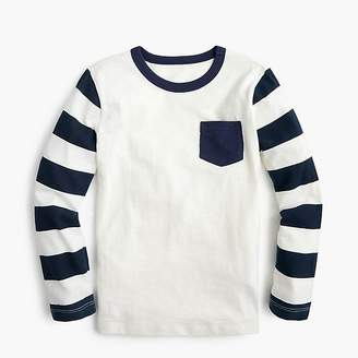 J.Crew Boys' long-sleeve contrast-pocket T-shirt with striped sleeves