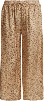 Mes Demoiselles Floral-print silk trousers