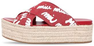 Miu Miu 50mm Logo Denim Crisscross Wedge Sandals