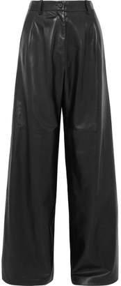 Nili Lotan Nico Wide-leg Leather Pants - Black