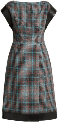 Prada Houndstooth Wool Blend Dress - Womens - Blue Multi