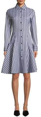 Derek Lam Button-Front Long-Sleeve Striped Shirting Dress