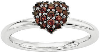 FINE JEWELRY Personally Stackable Genuine Garnet Sterling Silver Stackable Heart Ring