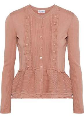 RED Valentino Embroidered Ribbed Wool Peplum Cardigan