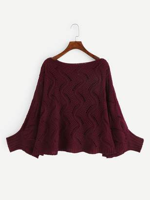 Shein Plus Batwing Sleeve Eyelet Sweater