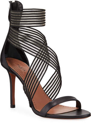 Alaia Elastic-Strap High-Heel Leather Sandals