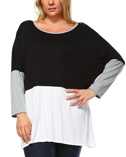 Black & Off-White Color Block Tunic - Plus