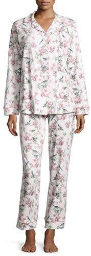 BedHeadBedhead Toile Bird-Print Classic Pajama Set, Light Blue