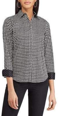 Chaps Petite Printed Cotton Button-Down Shirt