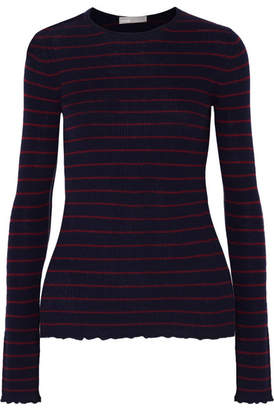 Vince Striped Ribbed Cashmere Sweater - Navy
