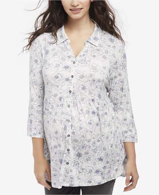 Motherhood Maternity Floral-Print Button-Front Blouse