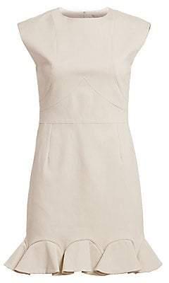 Halston Women's Cap Sleeve Flounce Hem Dress