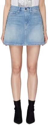 Frame 'Le Studded' washed denim skirt