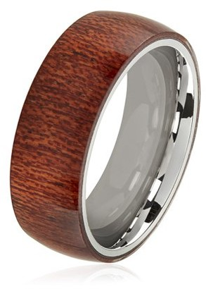 West Coast Jewelry Crucible Wood Overlay Stainless Steel Domed Comfort Fit Ring (8mm)