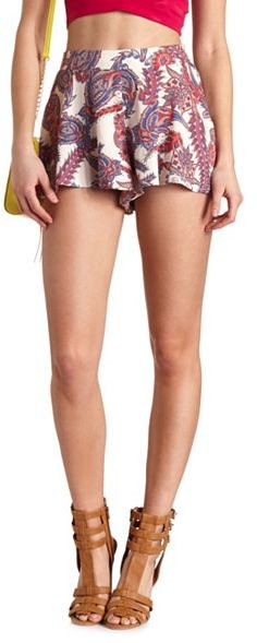 Charlotte Russe Flowy Paisley Print High-Waisted Shorts