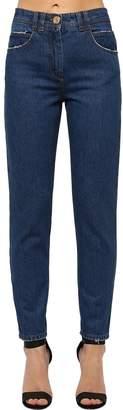 Balmain Straight Cotton Blend Denim Jeans