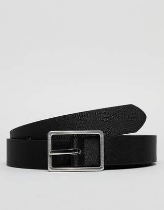 Asos DESIGN wedding smart faux leather slim reversbile belt in black saffiano and tan with silver buckle