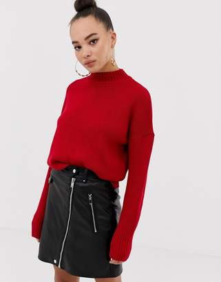 Missguided oversized jumper in red