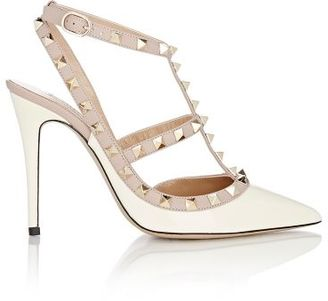 Valentino Women's Rockstud Caged Pumps-IVORY $995 thestylecure.com