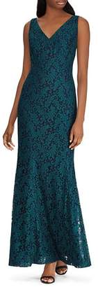 Ralph Lauren Fluted Lace Gown