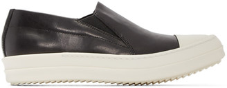 Rick Owens Black Leather Boat Sneakers $975 thestylecure.com
