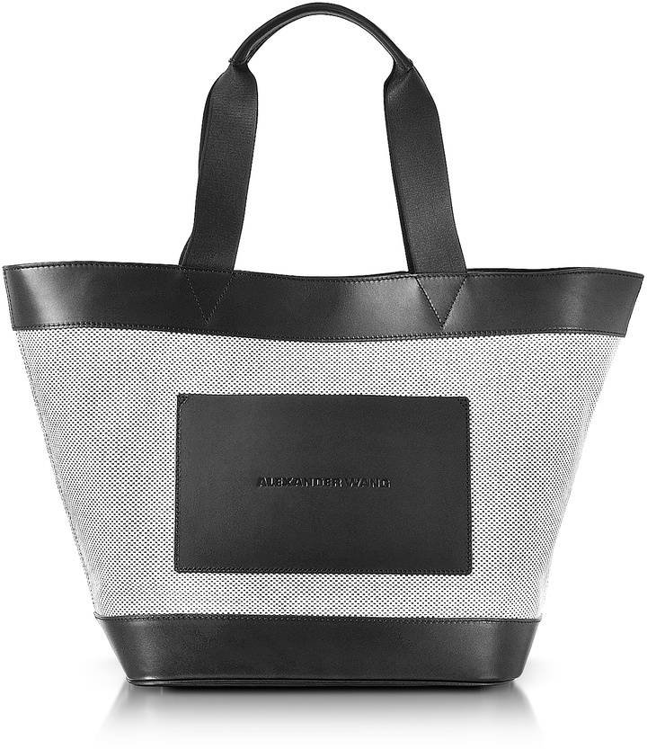Alexander Wang Alexander Wang Black and White Canvas Tote Bag w/Leather Pocket