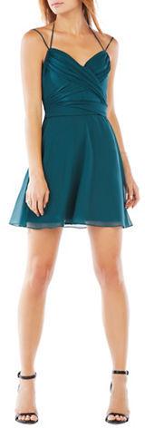 BCBGMAXAZRIABcbgmaxazria Silk Chiffon Wrap Halter Dress
