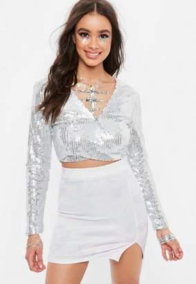 Missguided Gray Sequins Crop Top