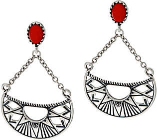 American West Red Coral Sterling Sun RayDangle Earrings