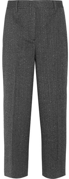 Prada - Cropped Wool-blend Mouline Straight-leg Pants - Charcoal
