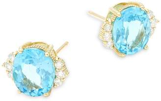 Judith Ripka Women's Flora Diamond, Swiss Blue Topaz & 18K Yellow Gold Stud Earrings