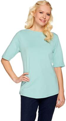 Essentials Elbow Sleeve Top With Curved Hem