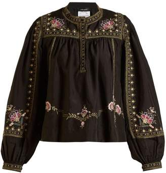Isabel Marant Dyron Embroidered Silk Blouse - Womens - Black