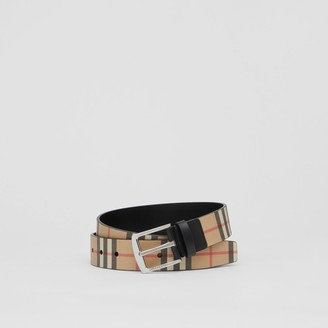 Burberry Vintage Check E-canvas and Leather Belt