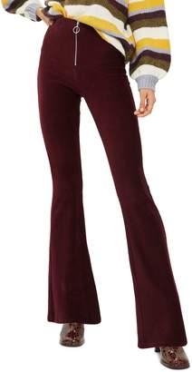 Topshop Zip Flare Corduroy Pants
