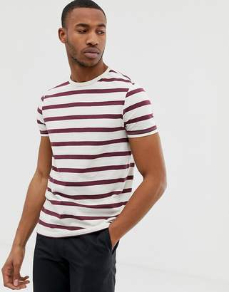 Asos DESIGN organic cotton stripe t-shirt in off white and burgundy