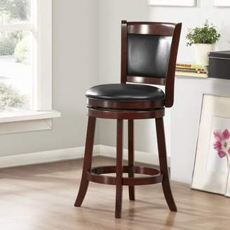 "ShapeL Weston Home 24"" Swivel Cushion Back Counter Stool with Faux Leather Cushion, Cherry"
