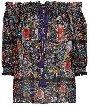 Roberto Cavalli Off-The-Shoulder Smocked Floral-Print Silk-Gauze Blouse
