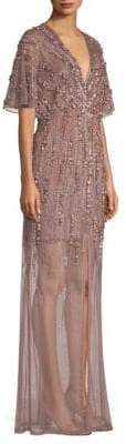 Aidan Mattox Embroidered V-Neck Gown