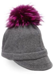 Portolano Fox Fur Pom-Pom & Cashmere Cap $298 thestylecure.com