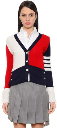Thom Browne Color Blocked Cashmere Knit Cardigan